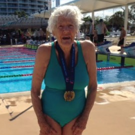 90-year-old Toowoomba Tadpole makes a gold medal splash